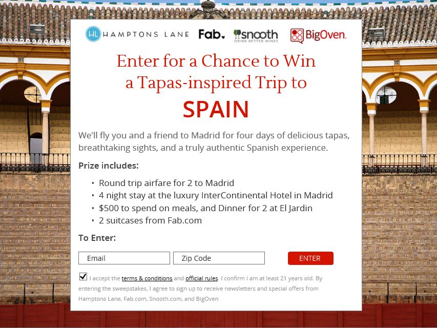 Hamptons Lane Spanish Tapas Experience Sweepstakes
