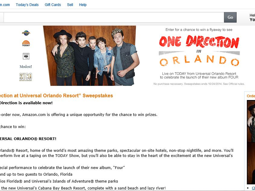 """Amazon.com """"See One Direction at Universal Orlando Resort"""" Sweepstakes"""