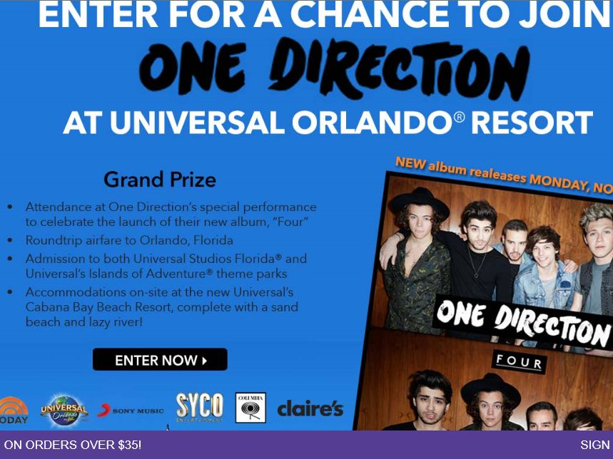 today show universal studios sweepstakes claire s one direction at universal orlando resort sweepstakes 2365