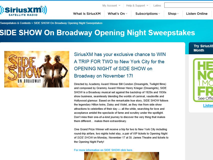 Side Show on Broadway Opening Night  SiriusXM Sweepstakes