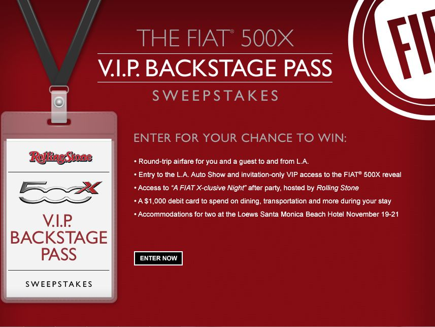 FIAT 500X V.I.P. Backstage Pass Sweepstakes