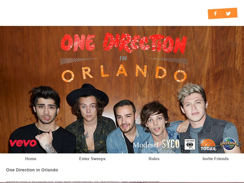 Vevo One Direction at Universal Orlando Resort Sweepstakes
