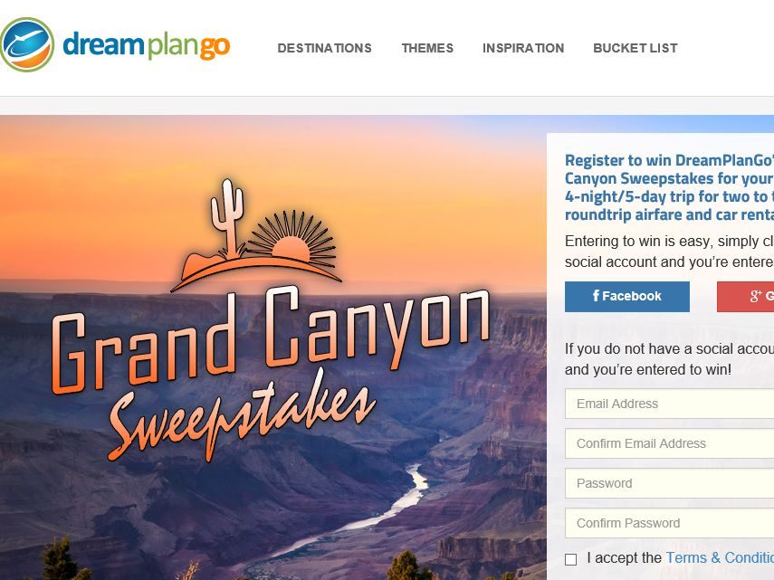 The DreamPlanGo Trip of a Lifetime: Grand Canyon Sweepstakes