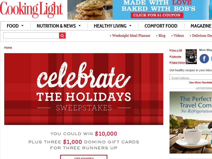 Cooking Light Celebrate the Holidays Sweepstakes