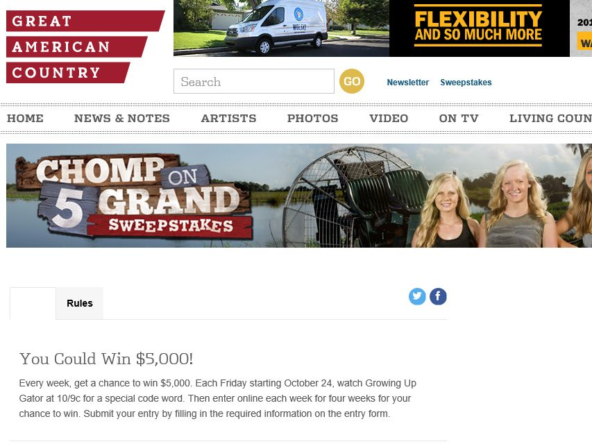 Great American Country Chomp On Five Grand Sweepstakes