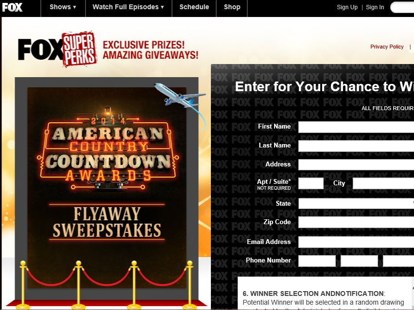 """FOX """"American Country Countdown Awards Flyaway"""" Sweepstakes"""