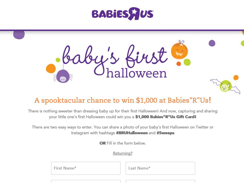 Babies'R'Us Baby's First Halloween Sweepstakes