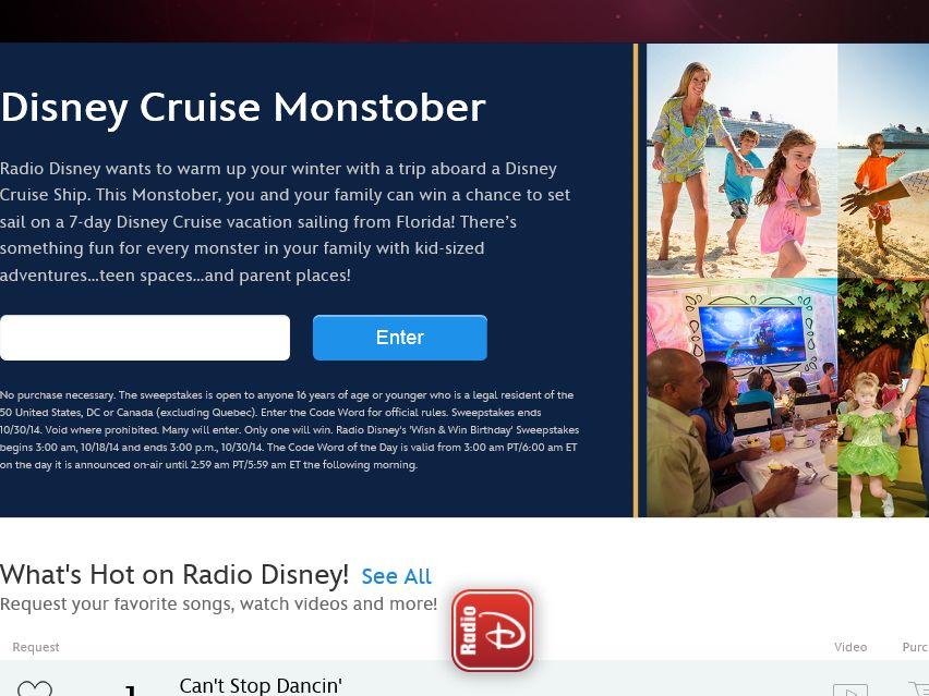 Radio Disney Cruise Monstober Sweepstakes – Code Required