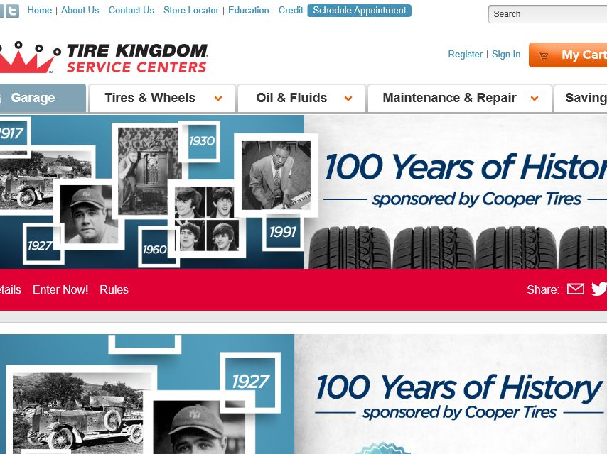 """TBC Corporation""""100 Years of History by Cooper Tires"""" Sweepstakes"""