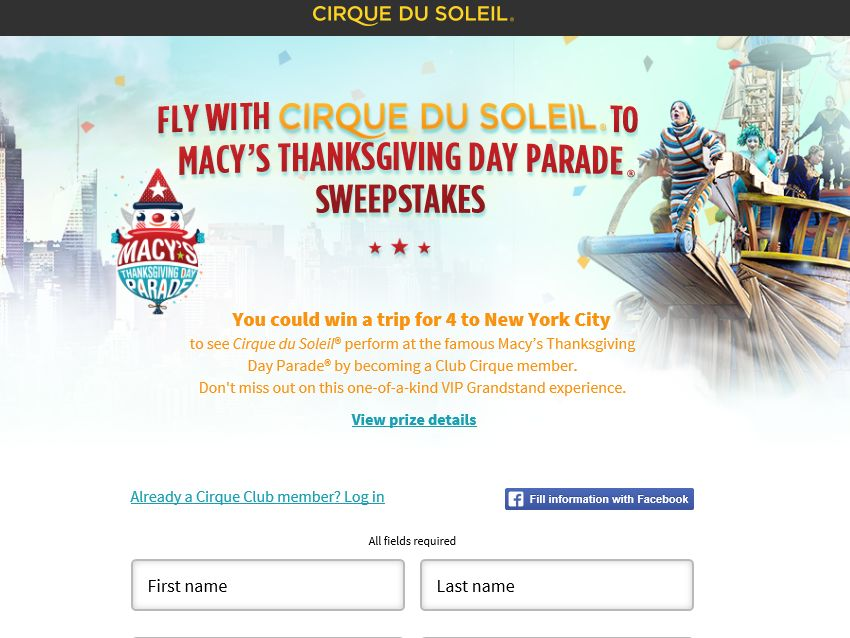 """The """"Fly with Cirque du Soleil at Macy""""s Thanksgiving Day Parade"""" Sweepstakes"""