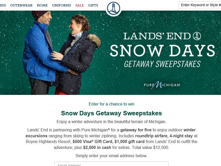 Lands' End Snow Days Getaway Sweepstakes