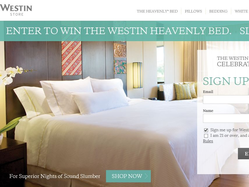 WestinStore.com 15th Anniversary of the Heavenly Bed Sweepstakes