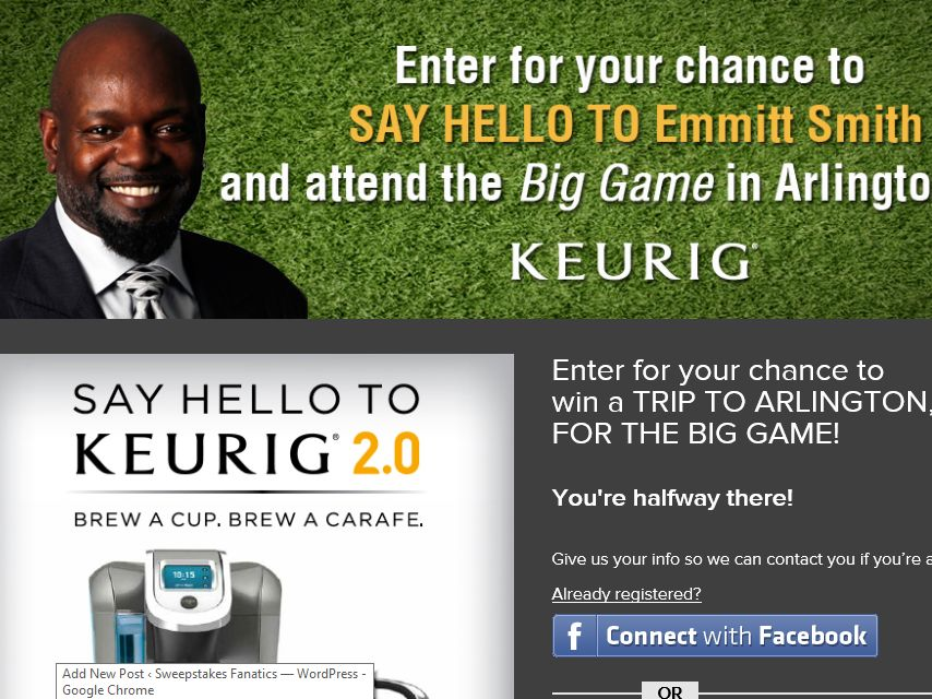 Say Hello to the Emmitt Smith Keurig Sweepstakes