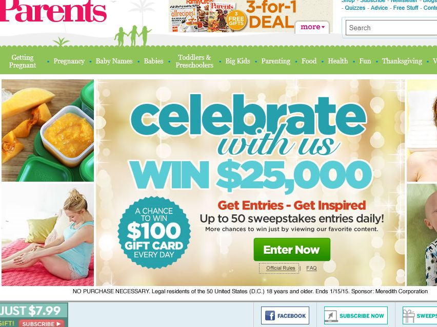 Parents.com Meredith Holiday Slide and Win Sweepstakes