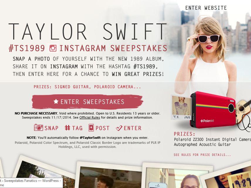 Taylor Swift 1989 Polaroid Sweepstakes