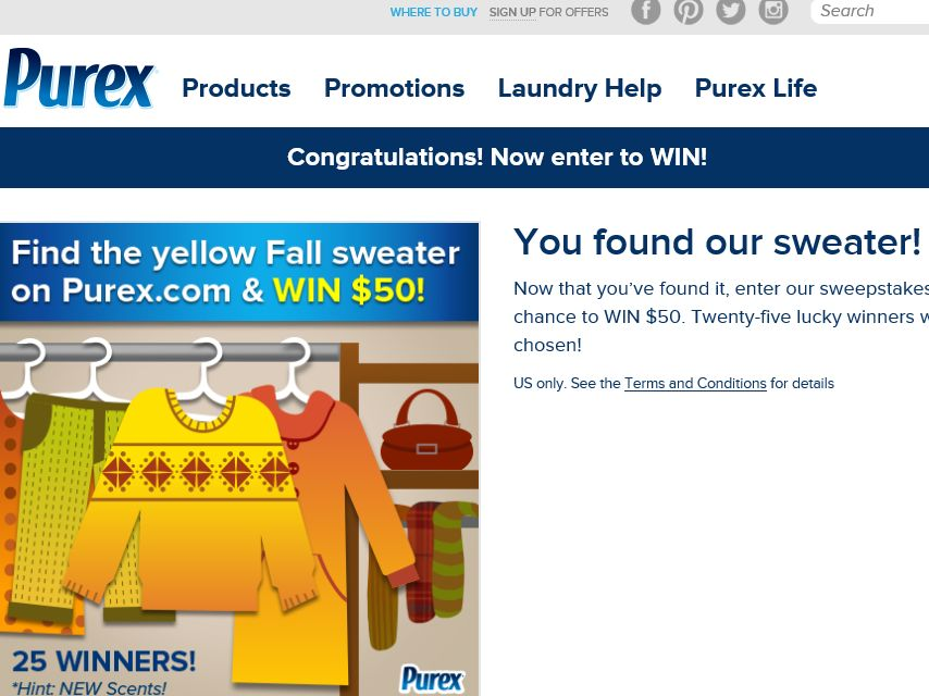 "Purex ""We lost our favorite yellow sweater – help us find it & WIN!"" Sweepstakes"