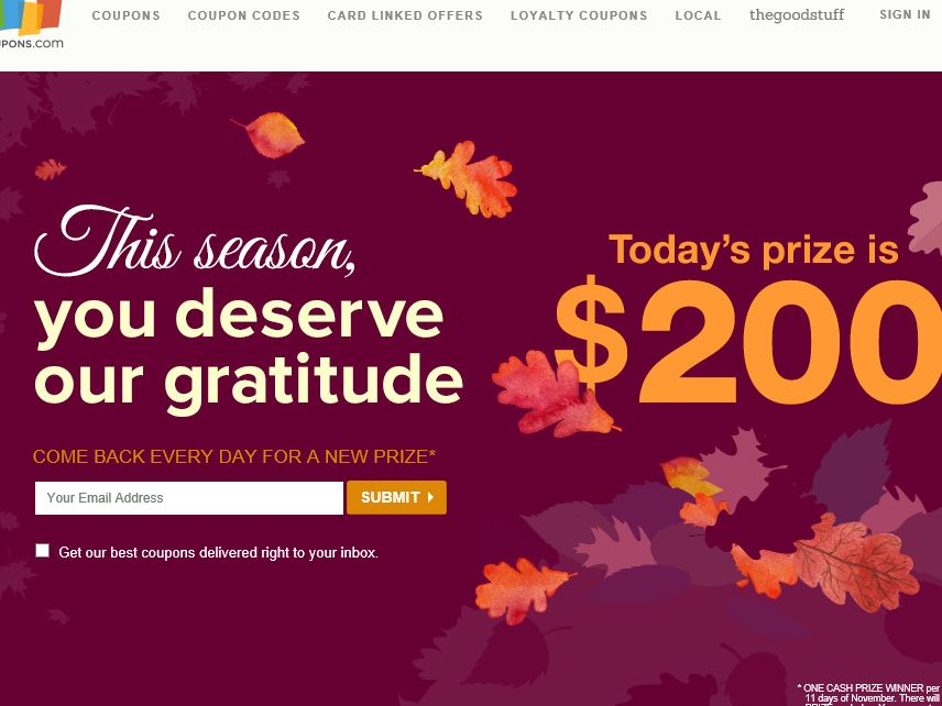 Coupons.com 11 Days of Thanks – November Sweepstakes