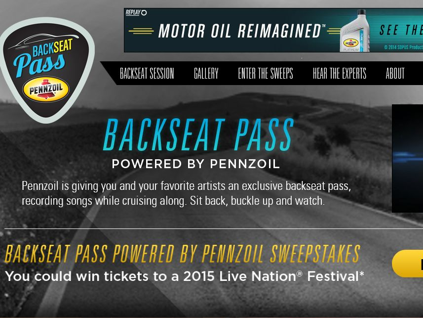 The Backseat Pass Powered by Pennzoil Sweepstakes