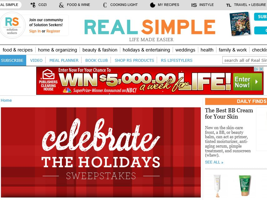 Real Simple Celebrate the Holidays Sweepstakes