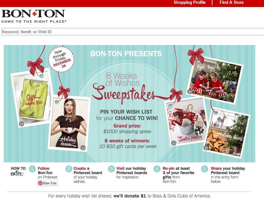 Bon-Ton 8 Weeks of Wishes Pinterest Sweepstakes