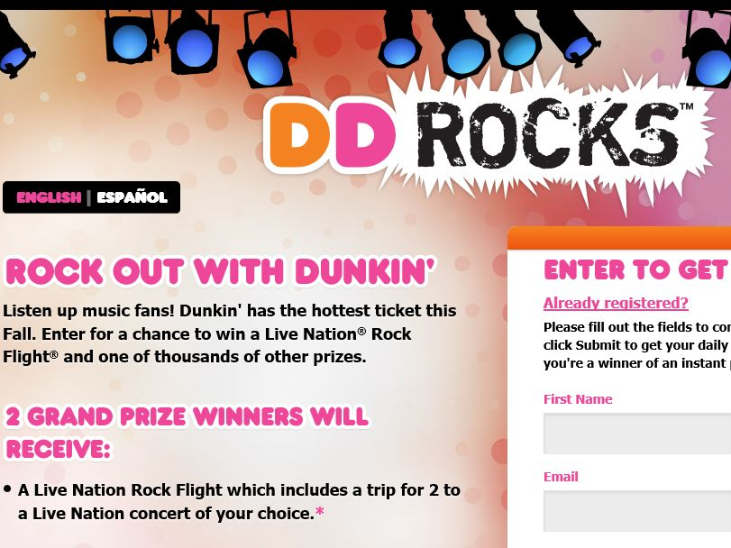 The DD Rocks Fall Sweepstakes & Instant Win Game