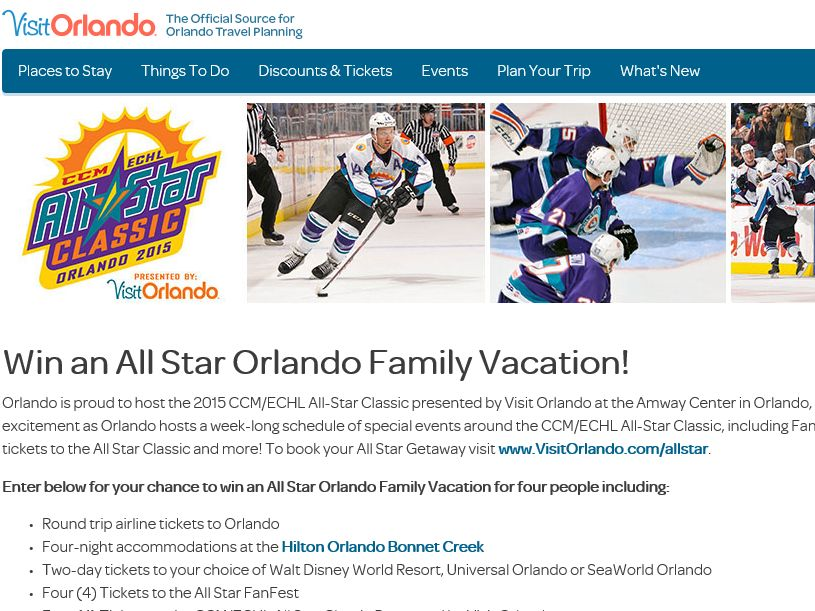 "VisitOrlando.com ""Win an All Star Orlando Family Vacation"" Sweepstakes"
