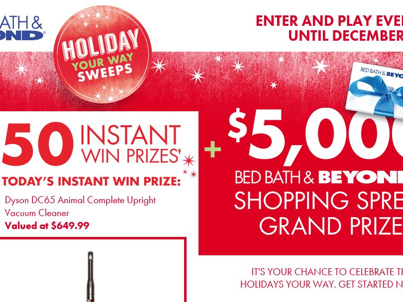 Bed Bath & Beyond Holiday Your Way Sweepstakes