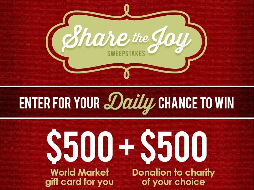 World Market's Share The Joy Sweepstakes