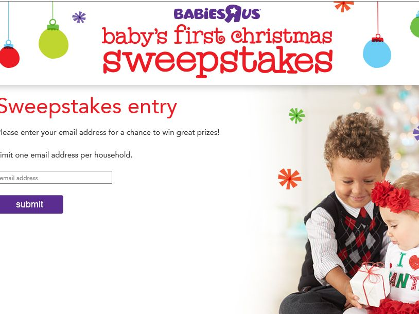 """Babies """"R"""" Us Baby's First Christmas Sweepstakes"""