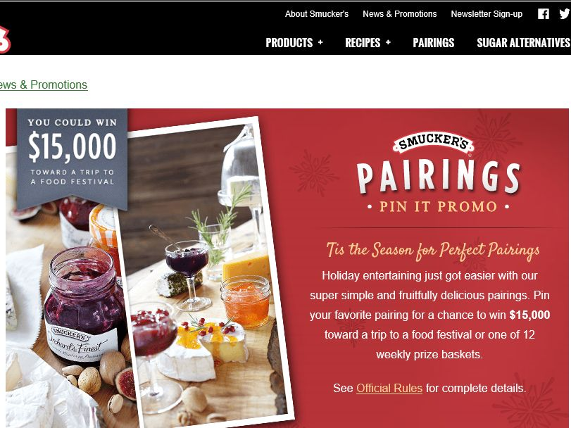 SMUCKER'S Pairings Pin It Promotion