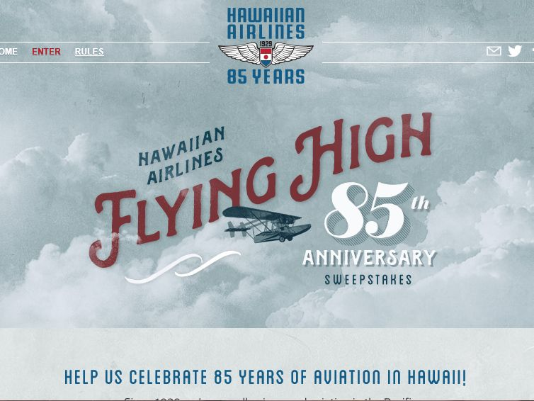 Hawaiian Airlines Flying High 85 Sweepstakes