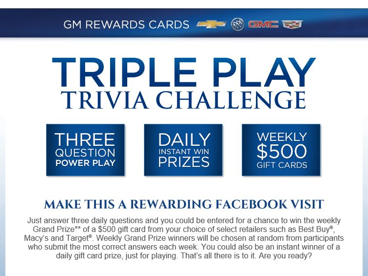 The GM Rewards Cards Facebook Trivia Instant Win & Contest