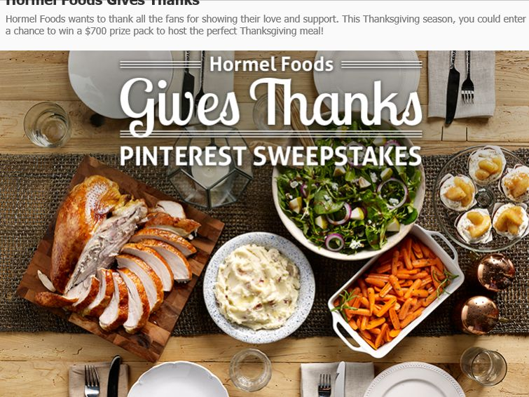 HORMEL Foods Give Thanks Pinterest Sweepstakes