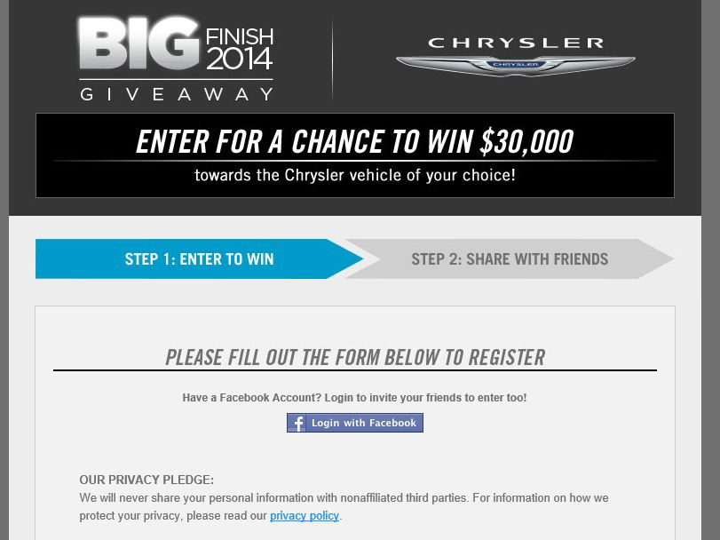 The 2014 Chrysler Big Finish Giveaway