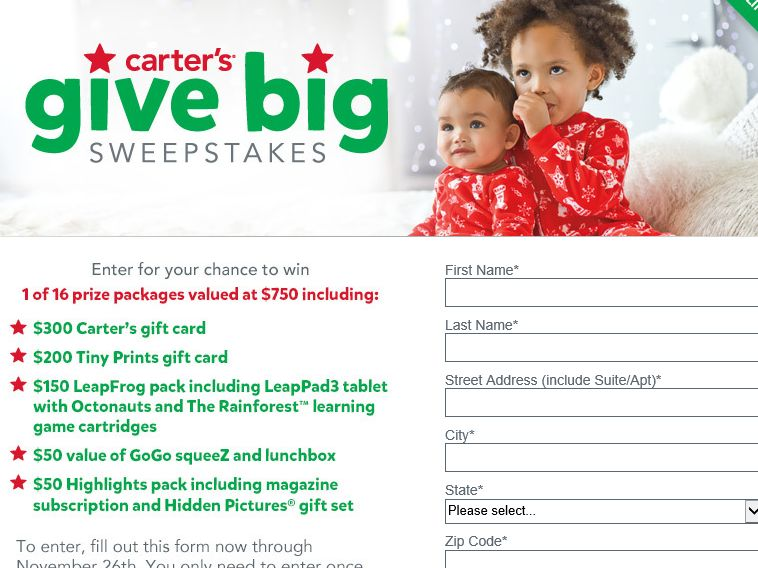 Carter's Give Big Sweepstakes