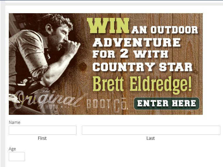 The Original Muck Boot Company Brett Eldredge Outdoor Adventure Sweepstakes