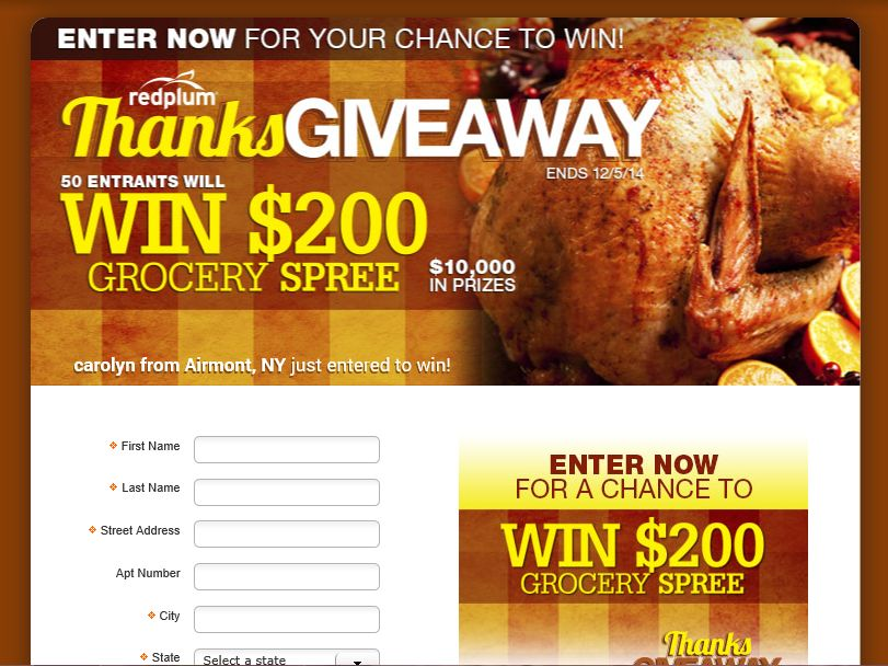 The RedPlum ThanksGiveaway Sweepstakes