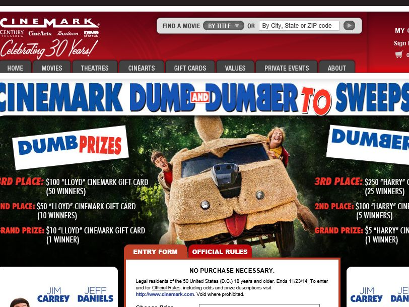 Cinemark Dumb and Dumber Sweepstakes