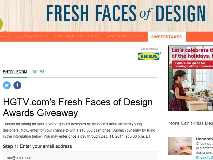 HGTV.com's Fresh Faces of Design Awards Giveaway