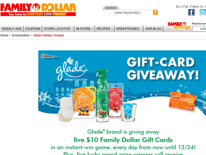 Family Dollar Instant Win Game and Sweepstakes