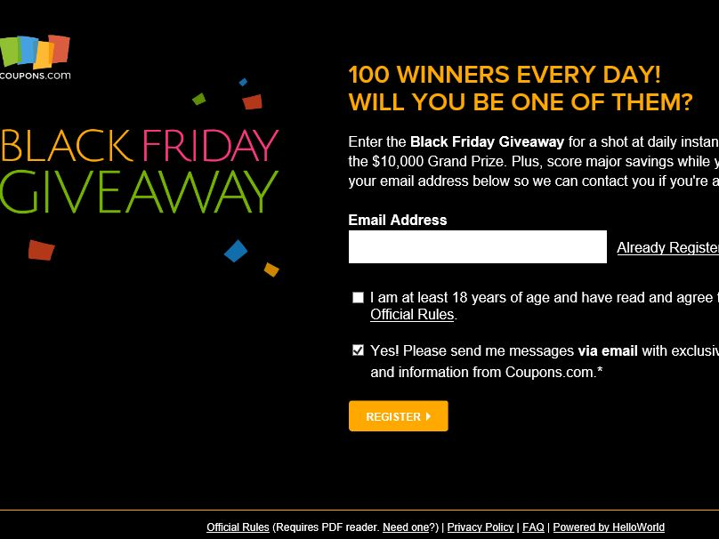 Coupons.com Black Friday/Cyber Monday Giveaway