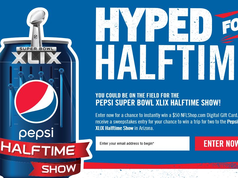 Pepsi Hyped for NFL Halftime Sweepstakes
