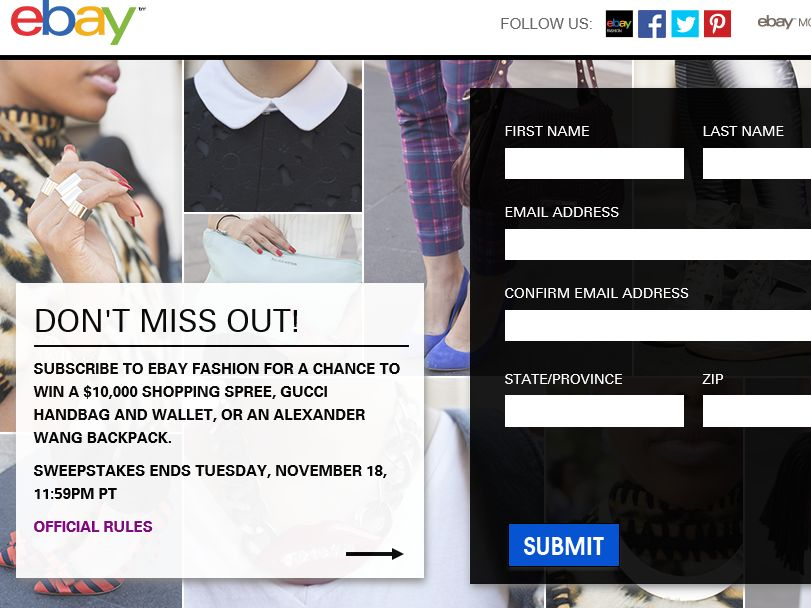 eBay Fashion Opt-In Sweepstakes
