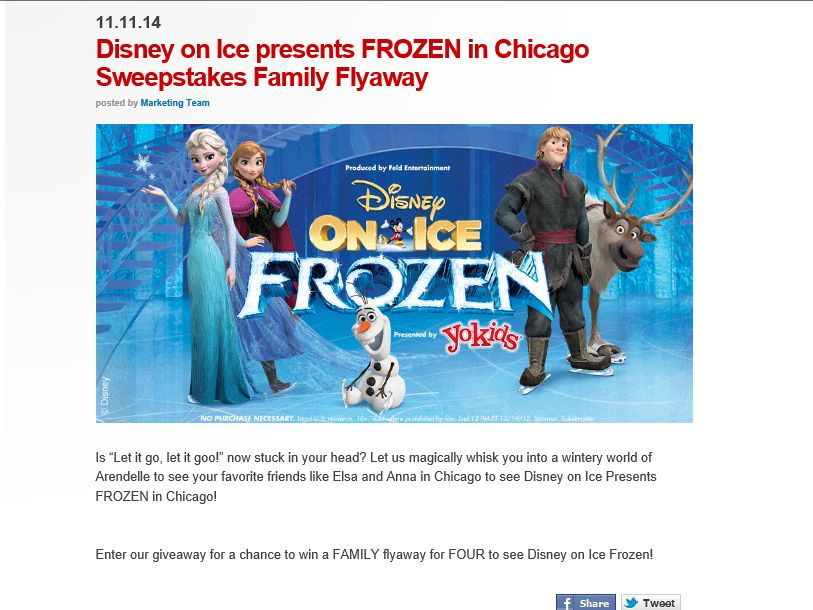 The Disney On Ice presents Frozen in Chicago Giveaway
