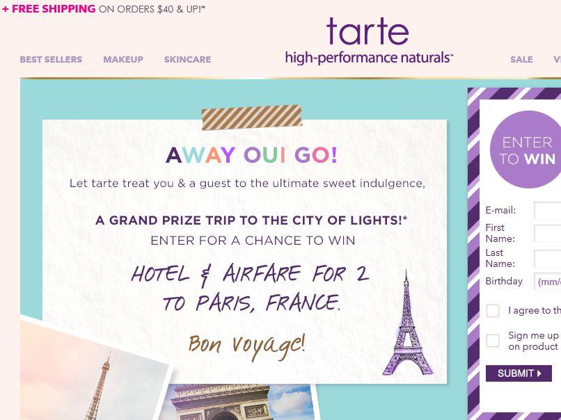 The tarte Paris Sweepstakes