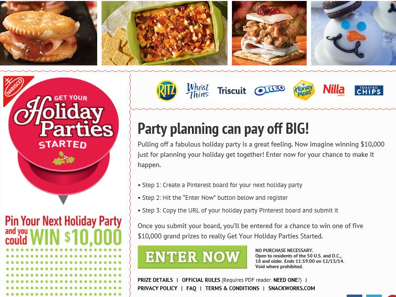 Nabisco Get Your Holiday Parties Started Sweepstakes