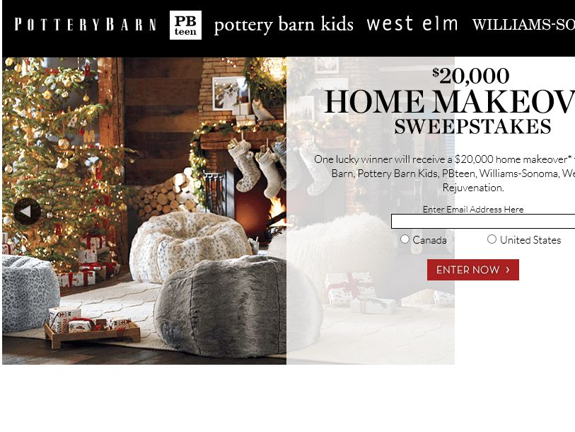 Pottery Barn 20k Home Makeover Sweepstakes
