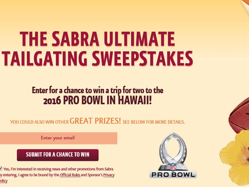 The Sabra NFL Ultimate Tailgating Sweepstakes