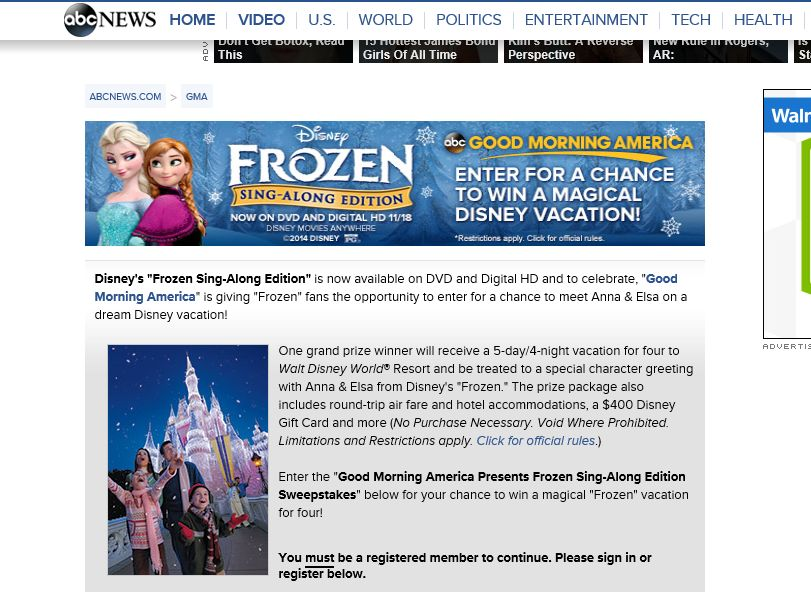 "Good Morning America ""Frozen Sing-Along Edition"" Sweepstakes"