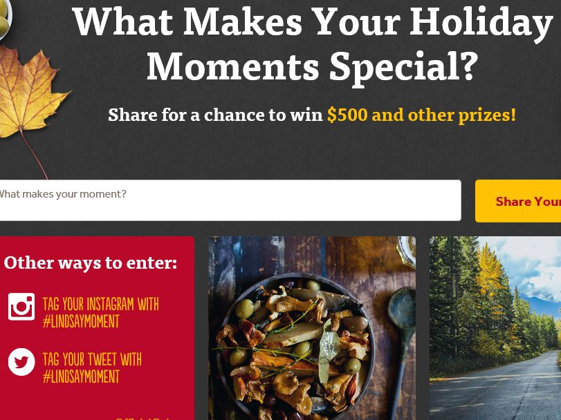 "Lindsay ""What Makes Your Holiday Moments"" Sweepstakes"